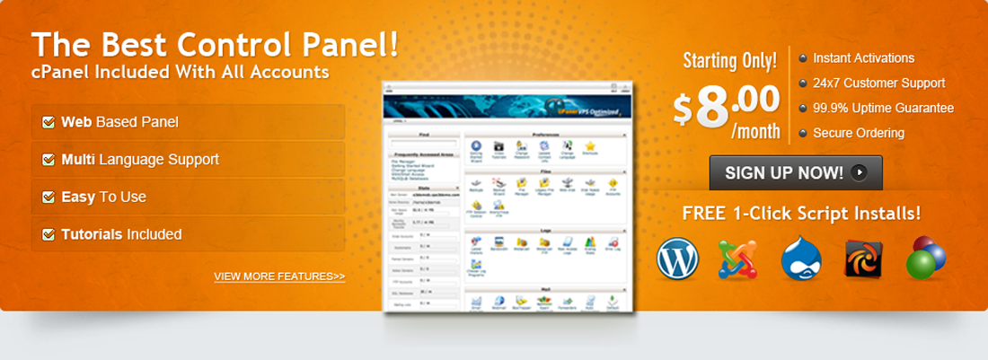 cPanel is the most popular web hosting control panel